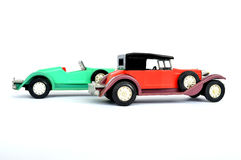 Old cars. Children`s toys - old cars Royalty Free Stock Image