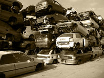 Old cars on a dump. The old broken cars on a dump Royalty Free Stock Photo