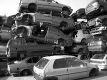Old cars on a dump. The old broken cars on a dump Stock Photos