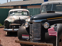 Old cars in the famous route 66 road stock images