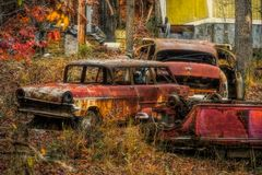 Old Cars on Hillside. Among trees on rural road in western Arkansas royalty free stock images