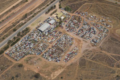 Old cars in a junk yard. Junk yard for old cars aerial view Royalty Free Stock Photo