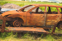 Old cars on junkyard. In central Bulgaria Royalty Free Stock Photo