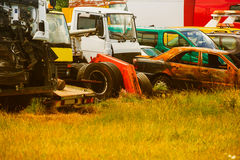 Old cars on junkyard. In central Bulgaria Stock Photo