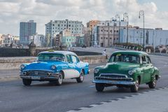 Old cars. In the malecon of la habana Royalty Free Stock Photos