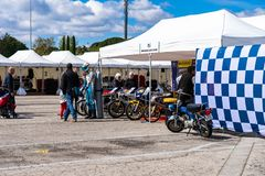 Old cars and motorcyles in montjuic spirit Barcelona circuit car show.  stock photos