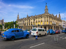 Old cars near the Great Theater of Havana Stock Photos