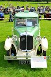 Old cars. NOTTINGHAM, UK - JUNE 1, 2014: Frontal view of rare Austin Swallow vintage car for sale in Nottingham, England Stock Images