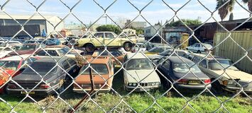 Free Old Cars On The Car Junk Yard Stock Photography - 211146712
