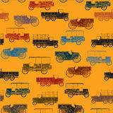 Old cars pattern seamless. Retro color seamless pattern with vintage cars Stock Image