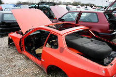 Old cars are scrapped. Scrap yard for car recycling Royalty Free Stock Photo