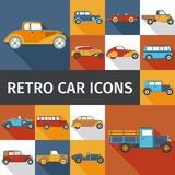 Old Cars Set. Old cars and retro autos flat icons set isolated  illustration Royalty Free Stock Image