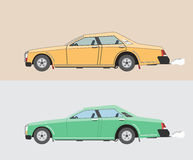 Old cars, yellow and green. Two classic car yellow and green color Royalty Free Stock Image