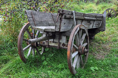 Old Cart. Vintage wooden cart in the countryside in Central Russia Stock Photos