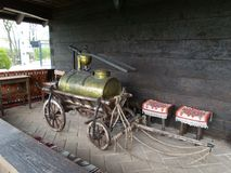 Old cart with a boiler. Old, rustic and taditional Romanian cart with a boiler  for make a brandy Royalty Free Stock Photography