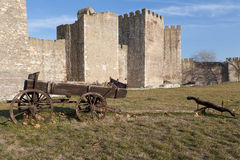 Old cart and fortress. Old cart in Smederevo Fortress in Serbia Royalty Free Stock Photo