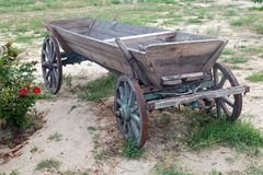An old cart in good condition outdoor. Vintage object Royalty Free Stock Photo