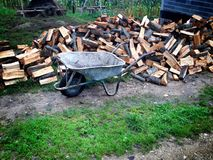 Old cart. Prepairing for winter in vilage, wood for royalty free stock image