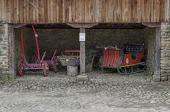 Old cart and sled with horse traction in Etar Royalty Free Stock Photography