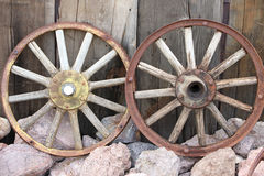Old cart wheels Stock Images