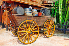 Old cart with wine barrels Stock Photo