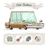 Old Cartoon Sedan Set Stock Photography