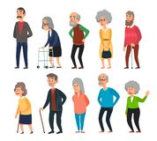 Old cartoon seniors. Aged people, wrinkled senior grandfather and walking grandmother with gray hair isolated