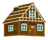 Old cartoon wooden candy house with chocolate elements - isolated Stock Images