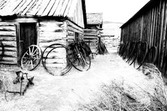 Old carts in a Ghost town near Cody, Wyoming, United States Stock Photography