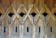Old carved door in the barn. royalty free stock images
