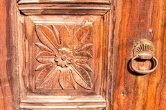 Old carved door with metal handle Stock Images