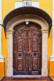 Old carved wooden church door Royalty Free Stock Image