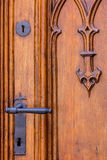 Old carved wooden door- close-up Stock Photo