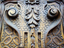 Old carved wooden door Royalty Free Stock Images