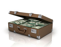 Old case full of one hundred dollar bills Royalty Free Stock Image