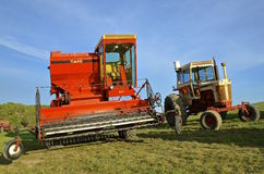 Old Case self propelled combine Royalty Free Stock Images