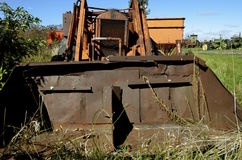 Old Case tractor with a homemade front end loader Stock Photo