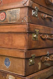 Old cases. Heap of old braun cases Royalty Free Stock Photo