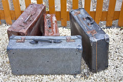 Old cases bags. Old suitcases / vintage luggage bags left or lost concept Stock Images