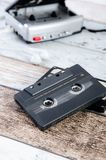 Old casette tape player and recorder with earphones Stock Image