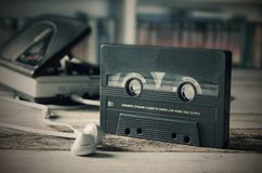 Old casette tape player. Retro style photo. Royalty Free Stock Image