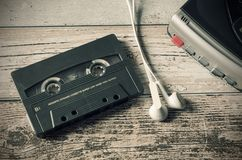 Old casette tape player. Retro style photo. Stock Photos