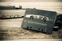 Old casette tape player. Retro style photo. Royalty Free Stock Images