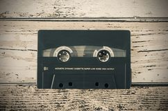 Old casette tape from top view composition Royalty Free Stock Photo