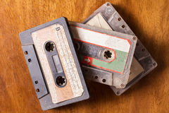 Old casette tape on wood surface Stock Images