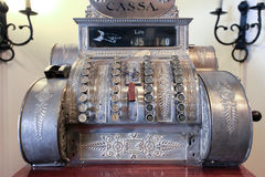 Old cash register. Detail of beautiful old mechanical cash register Royalty Free Stock Photography