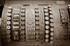 Old Cash Register. Detail of beautiful old mechanical cash register Stock Photo