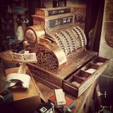 Old cash register. Antique shop in Malaga Stock Photography