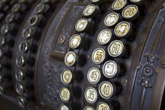 Old Cash register. Buttons detail Stock Image