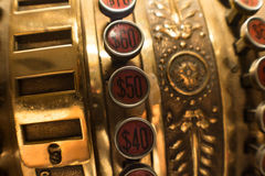 Old cash register buttons. Macro of old cash register buttons Royalty Free Stock Image